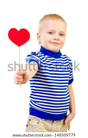 little boy with heart isolated on a white background