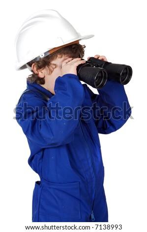 Little boy with helmet, binoculars and coveralls - stock photo