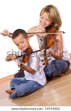 Little boy with her mother playing or practicing the violin together sitting on the floor - isolated - stock photo