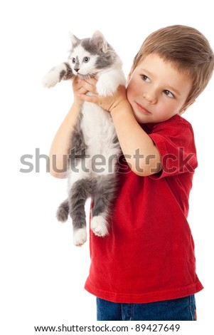 Little boy with kitten in hands, isolated on white - stock photo