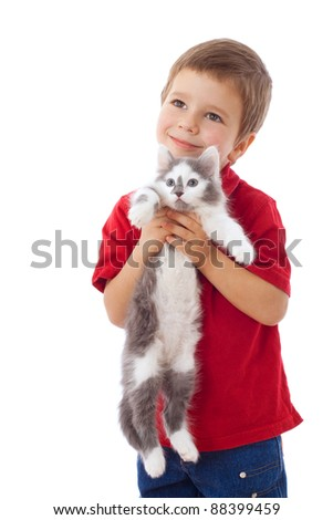 Little boy with kitty in hands, isolated on white