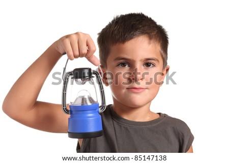 Little boy with lantern isolated on white - stock photo
