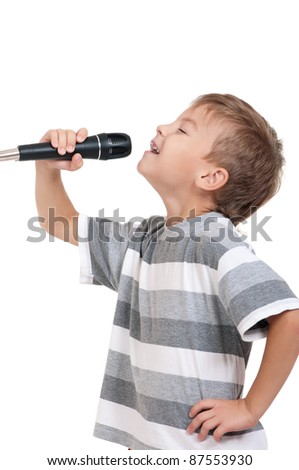 Little boy with microphone - isolated on white background - stock photo