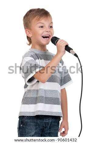 Little boy with microphone - isolated on white background