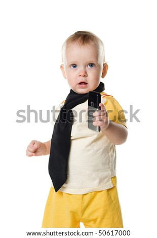 Little boy with mobile phone. Isolated on white - stock photo