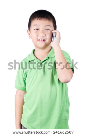 little boy with  mobile phone isolated on white background - stock photo