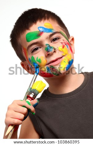 little boy with paint over white background - stock photo