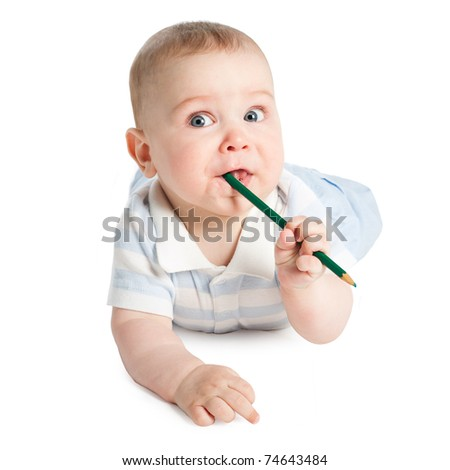 little boy with pencil
