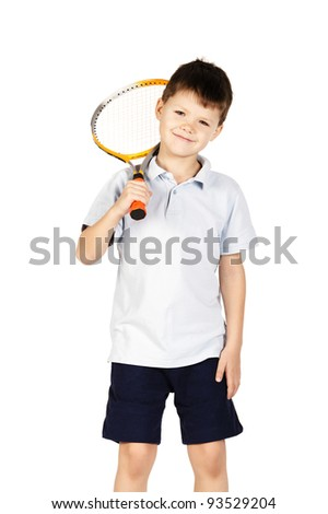 little boy with racket - stock photo