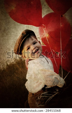 little boy with red balloons - stock photo