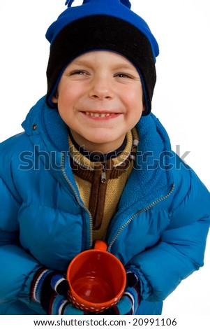Little boy with red cup - stock photo
