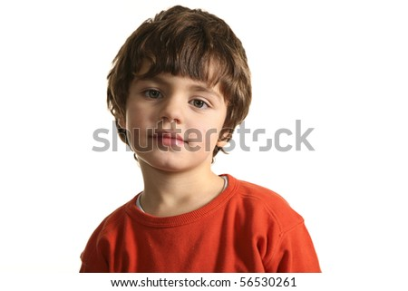 little boy with red sweater - stock photo