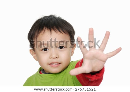 little boy with Stop gesture