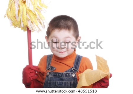 Little boy with swab winking against white background