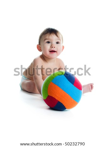 Little boy with the ball on white background - stock photo