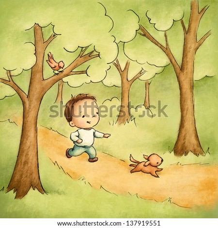 Little boy with the dog in the wood - stock photo