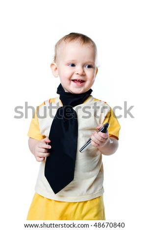 Little boy with the phone. Isolated on white - stock photo