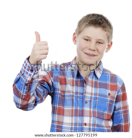 little boy with thumb up isolated on a white background