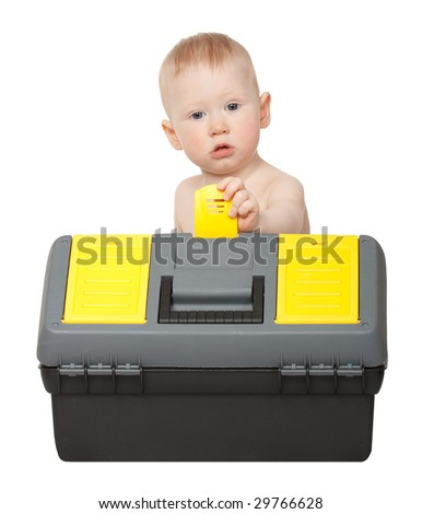 little boy with toolbox isolated on white - stock photo