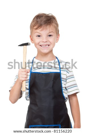Little boy with tools - isolated on white background