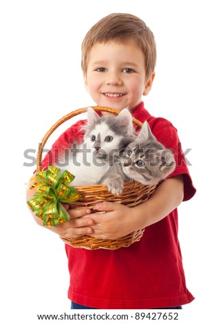 Little boy with  two kittens in basket, isolated on white - stock photo