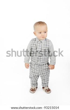 Little boy with vest - stock photo