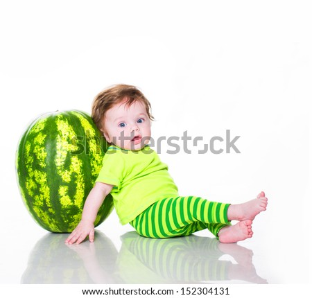 Little boy with watermelon isolated on white - stock photo