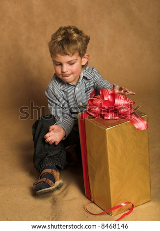 little boy with xmas present