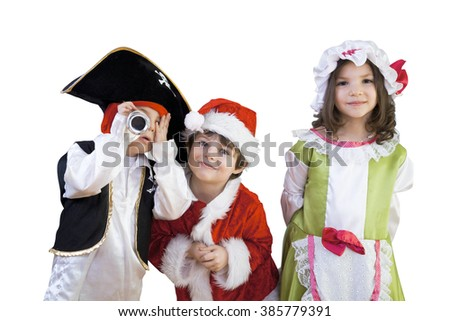 Little boys and girls are in costumes for a school play or ready for halloween enjoying the day against isolated white background. - stock photo