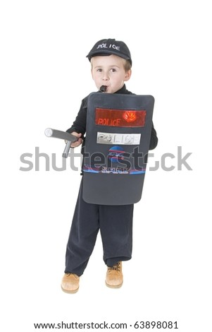 Little Boys in Police Officer Uniforms - stock photo