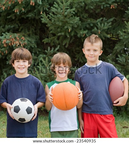 Little Boys With Sports Balls - stock photo