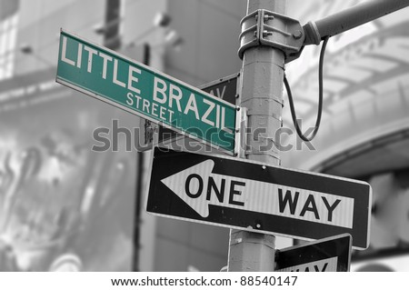 LITTLE BRAZIL STREET sign in Manhattan, New York. - stock photo