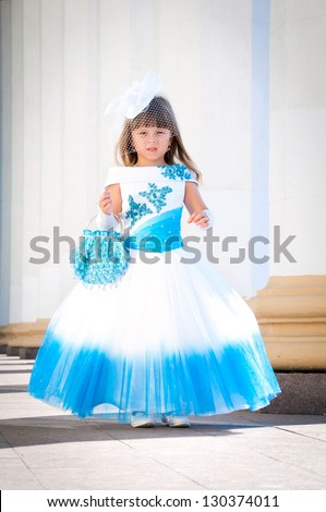 Little Bride Girl Lush White Blue Stock Photo (Royalty Free ...
