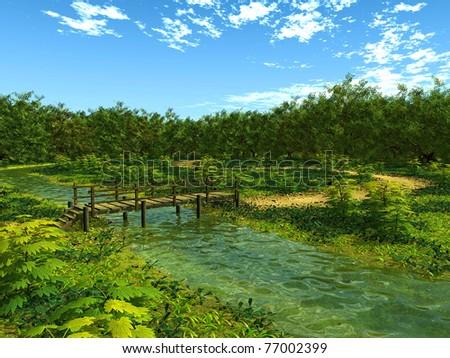 little bridge in the woods - stock photo