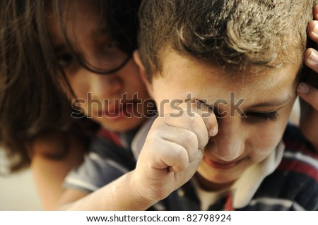 Little brother and sister, poverty , bad condition - stock photo
