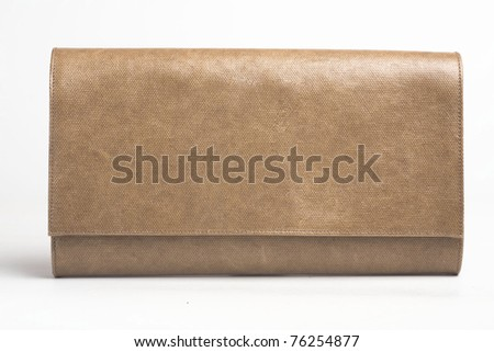 little brown  purse  on white - stock photo