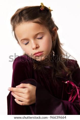 little brunette girl sleep - stock photo