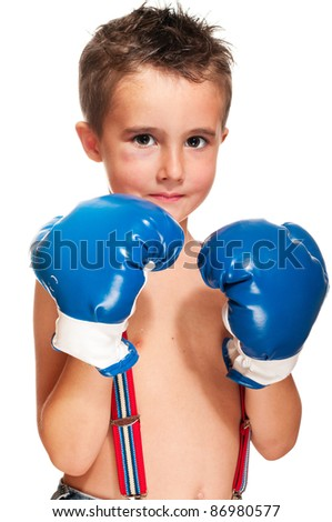 Little bully boy with black eye in boxing gloves wet isolated on white - stock photo