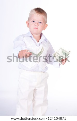 Little business man with money - stock photo