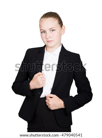 Little business woman. Studio portrait of child girl in business style. Studio isolated on a white background.