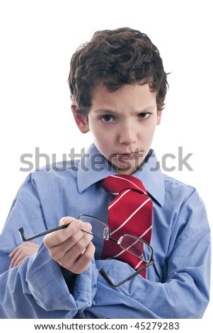 little businessman angry - stock photo