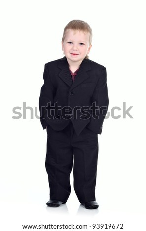 Little businessman isolated on the white background