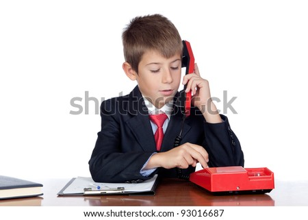 Little businessman marking a red phone isolated on a over white background