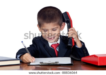 Little businessman talking on the phone isolated on a over white background - stock photo