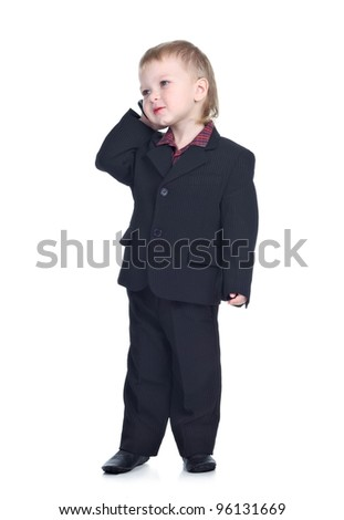 Little businessman with a phone isolated on the white