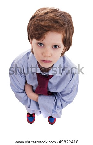 little businessman with a serious look - stock photo