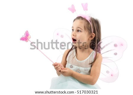 Little Butterfly Fairy Is practicing Magic, Isolated On White Background