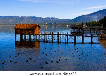 Little cabins on the Lake Tahoe - stock photo