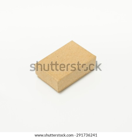 little cardboard Box isolated on a White background - stock photo