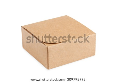 Little cardboard box  isolated on white background